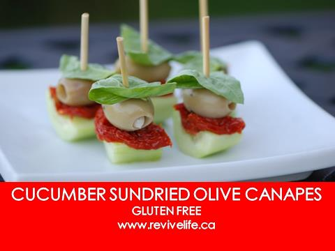 cucumber sundried olive canapes